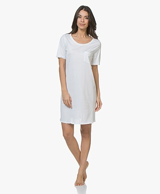HANRO Cotton Deluxe Jersey Nachthemd - Wit