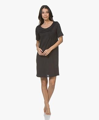 HANRO Cotton Deluxe Jersey Nachthemd - Zwart