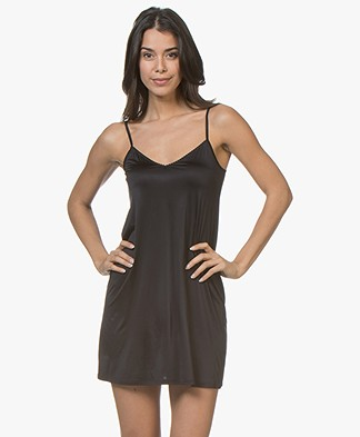 HANRO Satin Deluxe Slip Dress - Black