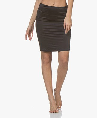 HANRO Satin Deluxe Slip Skirt - Black