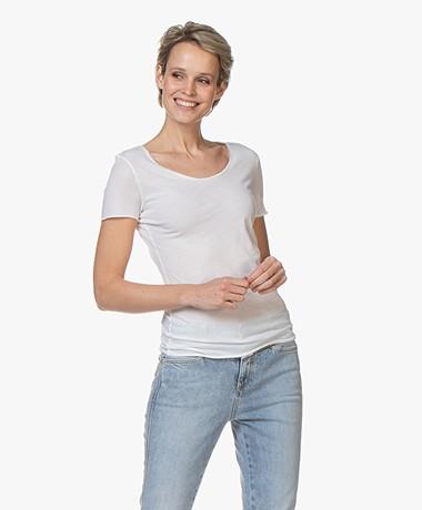 American Vintage Chipiecat R-hals T-shirt - Wit
