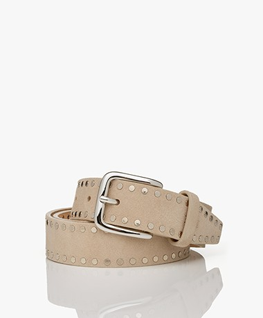 Closed Suede Leather Studded Belt - Lama