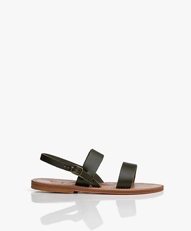 K. Jacques St. Tropez Barigoule Leather Sandals - Khaki