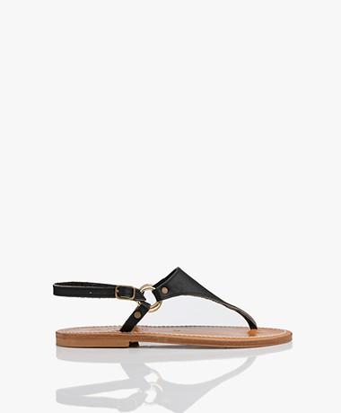 K. Jacques St. Tropez Triton Leather Sandals - Black