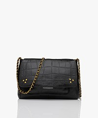 Jerome Dreyfuss Lulu M Leather Shoulder/Cross-body Bag - Croco Black/Vintage Gold