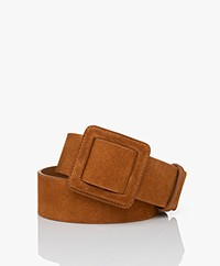 ba&sh Betty Wide Suede Belt - Camel