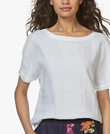 Belluna Yale Linen Blouse Top with Jersey Back - White