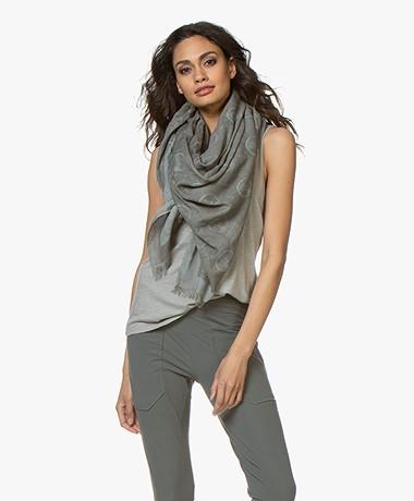 Woman by Earn WBE Allover Logo Print Scarf - Greyish Green