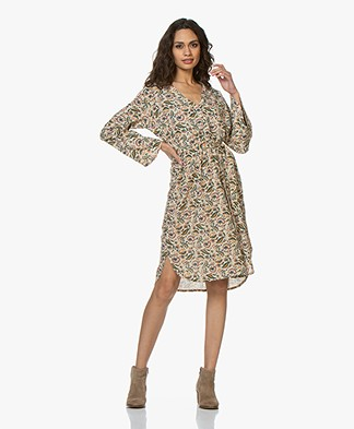 BY-BAR Fenne Floral Printed Crepe Dress - Oyster