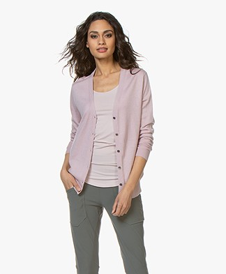 Filippa K Silk Mix V-Neck Cardigan - Frosty Pink