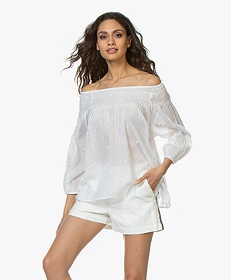Mes Demoiselles Bourgeon Voile Off-shoulder Blouse - Wit