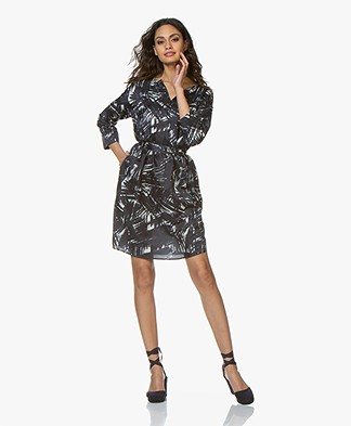 no man's land Silk Blend Printed Tunic Dress - Dark Sapphire