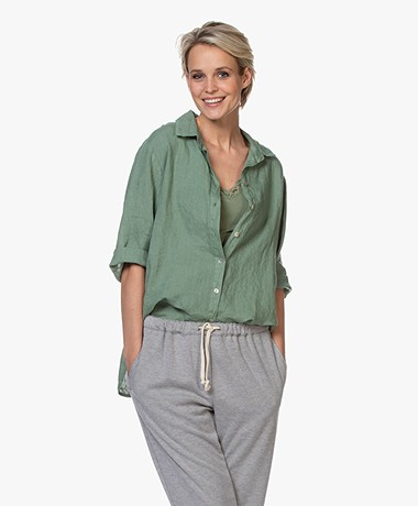 by-bar Bodil Linen Blouse - Hunting Green