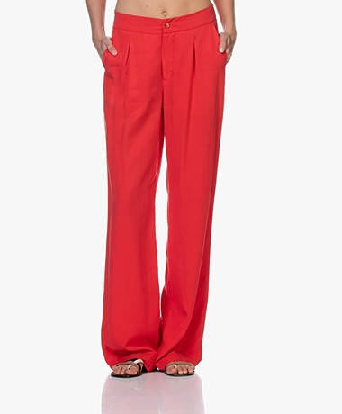 JapanTKY Yukana Tencel Pleated Pants - Japanese Red