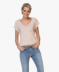 by-bar Mila Linnen V-hals T-shirt - Blush