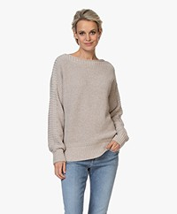 Repeat Cotton Boat Neck Rib Sweater - Desert