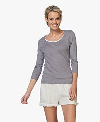 Belluna Casablanca Linen T-shirt with Double Neck Trim - Grey