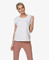 by-bar Bar Katoenen T-shirt met Geborduurd Detail - Bright White