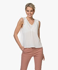 indi & cold Voile A-line Top with Ruffles - White