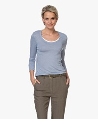 Belluna Casablanca Linen T-shirt with Double Neck Trim - Toscano Blue