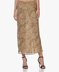 Mes Demoiselles Roseton Viscose Leopard Print Skirt - Beige