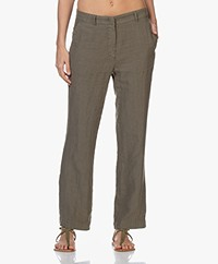 no man's land Pure Linen Pants - Safari Green