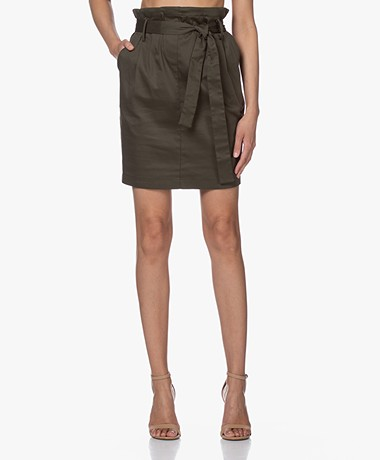 Woman By Earn Moma Stretch Cotton Paperbag Skirt - Army