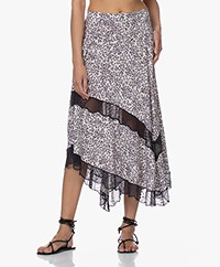 Zadig & Voltaire Juliet Print Skirt with Lace - Ecru
