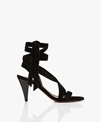 ba&sh Cidney Wrap-around Suede Heeled Sandals - Black