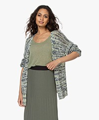 indi & cold Open Cotton Tape Yarn Cardigan - Basilico
