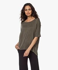 no man's land Loose-fit Cupro T-shirt - Soft Safari Green