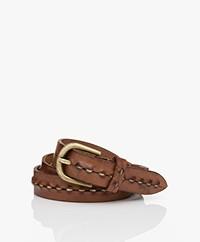 Mes Demoiselles Rosebuds Leather Belt - Cognac