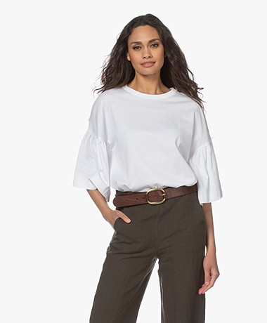 Drykorn Fimoni T-shirt met Volantmouwen - Wit