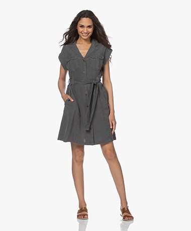 MKT Studio Runo Linen-Tencel Utility Dress - Greyish Green