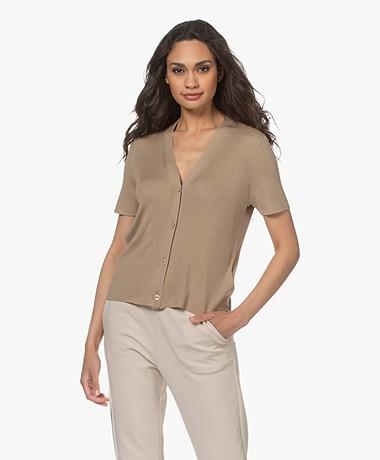 Drykorn Zabini Silk Blend Button-through Short Sleeve Cardigan - Khaki