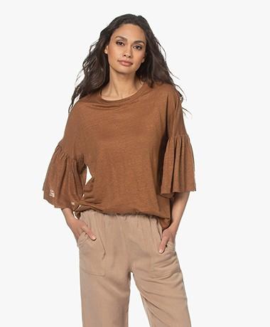Drykorn Fimoni Linen T-shirt with Lantern Sleeves - Brown