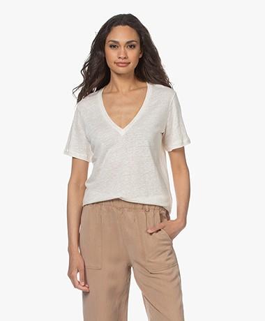 By Malene Birger Zooey Linnen V-hals T-Shirt - Soft White