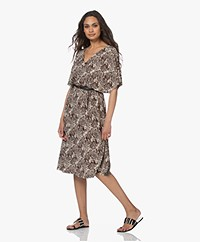 LaSalle Viscose Jersey V-neck Zeba Printed Dress - Capri