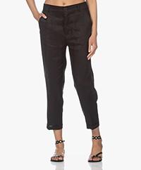Resort Finest Gianna Tapered Linen Pants - Black