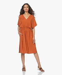 LaSalle Viscose Jersey V-neck Dress - Sedona
