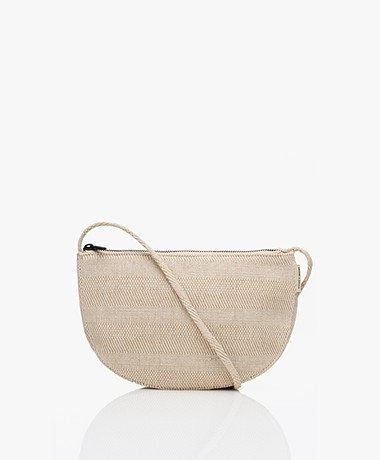 Monk & Anna Linen Farou Half Moon Linen Cross-Body Bag - Light Beige