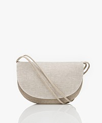 Monk & Anna Linen Soma Half Moon Linen Cross-Body Bag - Light Beige