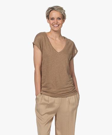 by-bar Mila Linnen V-hals T-shirt - Sepia