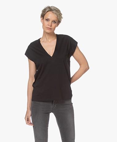FRAME Le Mid Rise V-hals T-shirt - Zwart