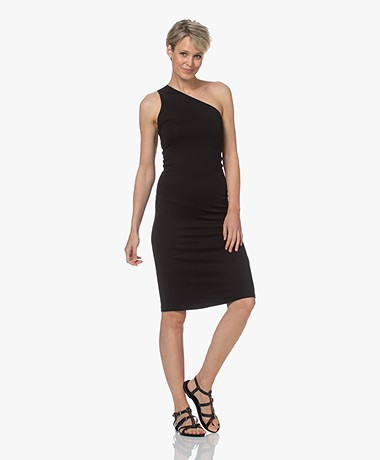 Majestic Filatures Asymmetric Superwashed Jersey Dress - Black