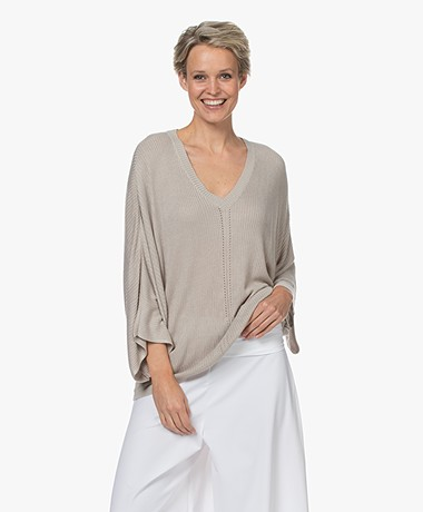 JapanTKY Maru Bamboo Viscose V-neck Sweater - Sand