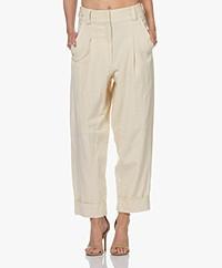 By Malene Birger Olax Loose-fit LInen Blend Pants - Wood