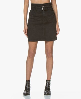 ba&sh Ellie Belted Denim Skirt - Black