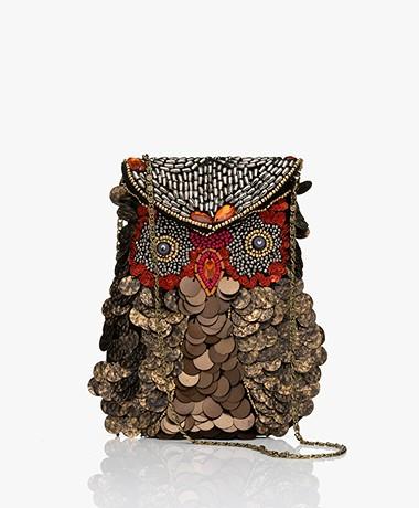 by-bar Cross-body Owl Beaded Bag - Gold