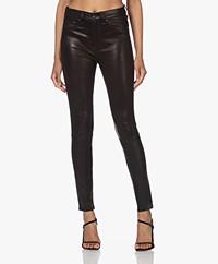 Rag & Bone High Rise Skinny Leather Pants - Black